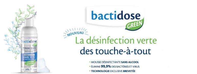 Des mains désinfectées avec Bactidose Green